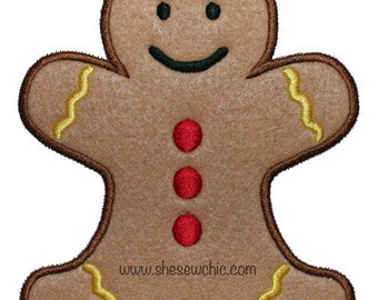 Gingerbread Boy Applique - Machine Embroidery Design file  (065)