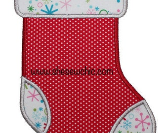 Christmas Stocking Applique - Machine Embroidery Design file  (069)