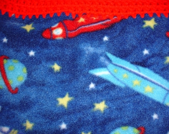 Rocket and Moon Fleece Throw