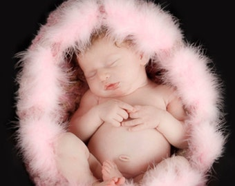 Newborn Cocoon Photo prop, Pink Newborn basket Photo prop, Baptism Baby nest, Crochet Baby cocoon, Newborn blanket, Pink Nest feathers