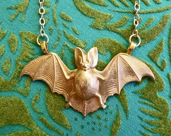 Gold Batty // Large Gold Bat Necklace on Gold Plated Chain, Goth Halloween Oddity Nature Witchy Vampire Occult Pagan Boho Rockabilly