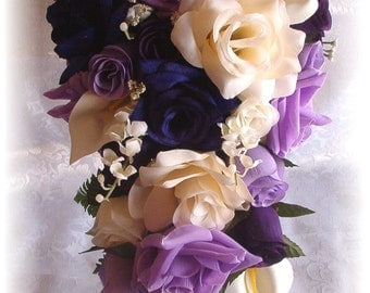 21pc Silk Wedding Flowers Bridal Bouquet PURPLE LAVENDER Ivory Roses Calla Lily