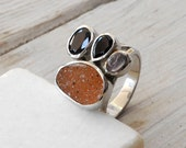 Druzy Agate Ring, Apricot Orange Statement Ring, OOAK Gemstone Ring, Sterling Silver Earthycolored Ring, Winter 2013, Size 7.5