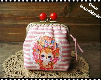 Deer Red candy bead metal frame purse / Coin Wallet / Pouch coin purse / Kiss lock frame purse bag-GinaHandmade