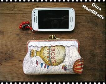 Hot Air Balloon iphone case // Two-compartment Coin purse / Coin Wallet / Pouch coin purse / Kiss lock frame purse bag-GinaHandmade