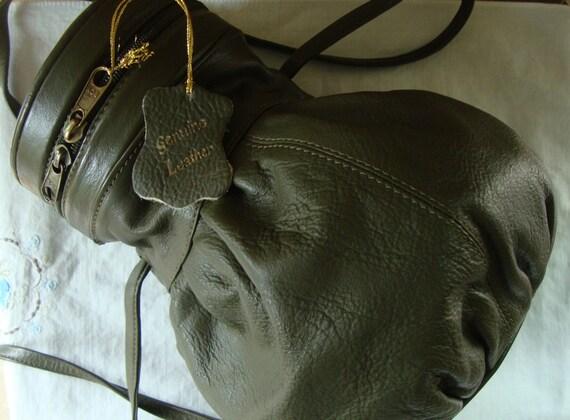 VINTAGE LEATHER BAG Leather Handbag Sholder Bag Crossover Bag Purse By Boy - Made In India