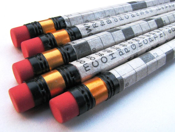 Pencil Set, Crossword Puzzle, Recycled Newspaper (Set of 5)