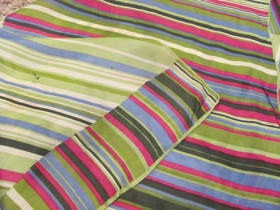 Beautiful Green Pink Striped Glentex Silk Blend Scarf - 26 x 26 Square