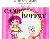 Printable DIY Button Doll Theme Birthday Party Candy Buffet Station Sign