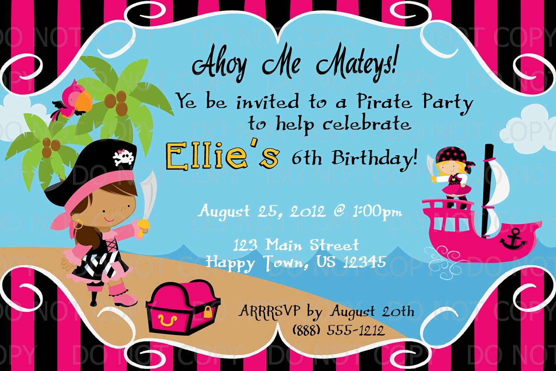Printable DIY Girl Pirate Birthday Party Invitation