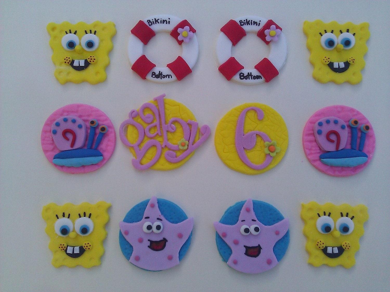 Spongebob Edible Fondant cupcake toppers