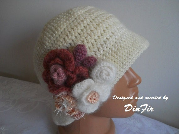 WOOL CLOCHE HAT / Women Accessories Hats Crocheted Detachable Flowers Autumn Elegant Warm / Hand Knitted Gift Ideas Romantic Feminine Chic