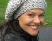 Hat Slouch Unisex Gray, Silver, Chunky, Maxi--Light Gray With Flecks, Hat, Crochet, Cushy, Warm