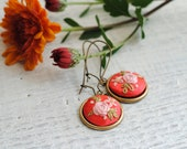 Petite Coral Embroidered Earrings, rose earrings, hand stitched silk earrings, coral floral jewelry