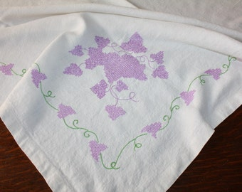 Antique Linen Tablecloth Hand Embroidered Lilacs Wisteria