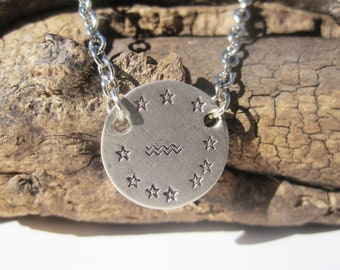 Aquarius Necklace Zodiac Necklace Aquarius Jewelry