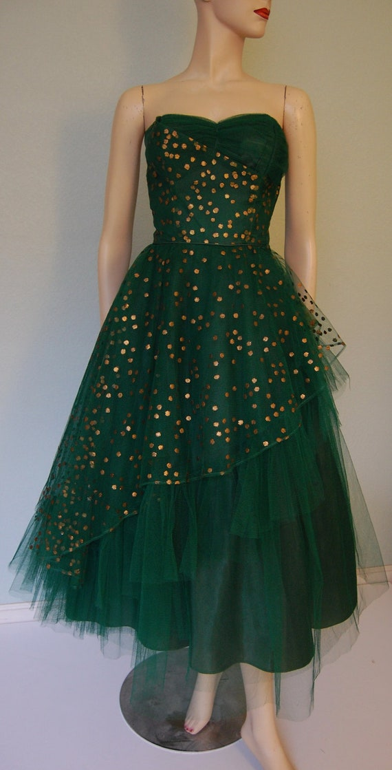 1950s Hand Decorated Strapless Tulle Party Dress -  Pleated Bodice - Layered - New Years Sparkle