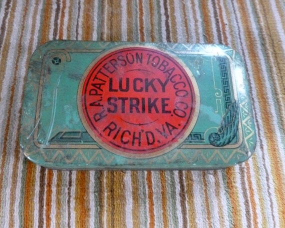 Vintage Lucky Strike Cut Plug Tobacco Pocket Tin with Rare Inside Paper Wrapper
