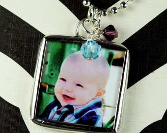 Photo Necklace Mothers Necklace Child Photo Pendant