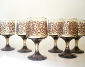 RESERVED FOR JENNIFER Brown Wine Glasses, Vintage Barware, Elegant Stemware for Holiday Entertaining
