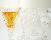 Vintage Cut Glass Stemware, Crystal Cordial Glasses, Liqueur Stems, Holiday Entertaining
