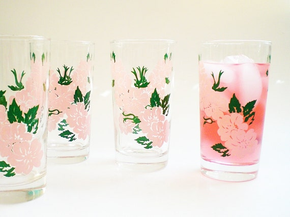 Tall Drinking Glass Set Vintage Tumblers Pink Summer Floral Design