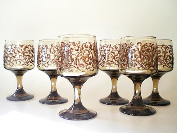 RESERVED FOR JENNIFER Brown Wine Glasses, Vintage Barware, Elegant Stemware for Holiday Entertaining