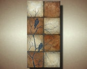 Large Abstract Bird Painting -- Heavily Textured Tiled Look -- 48 x 24 -- Overlooking Terra by Britt Hallowell