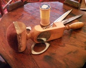 Antique Sewing Bird - Maple Wood Sewing Clamp w. Mirror - 1800's