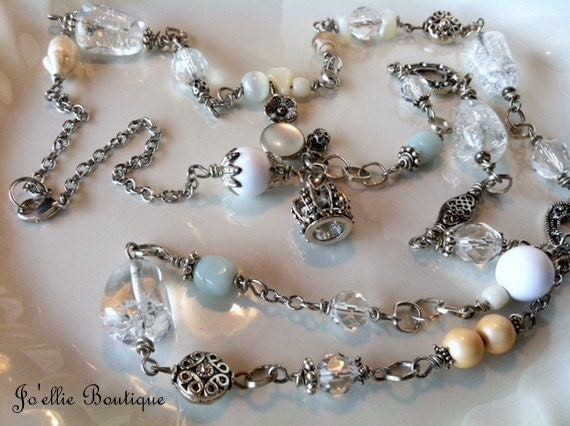 RESERVED FOR MIGHELA.....long crystal necklace....shabby chic....vintage......hand wire-wrapped....with vintage elements....victorian