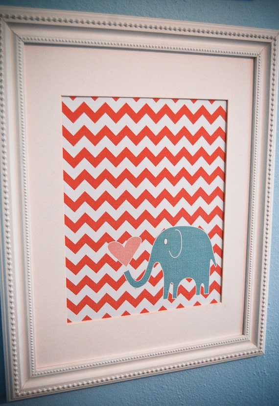 Instant Download - Digital 8x10 nursery print: coral chevron and turquoise elephant with heart