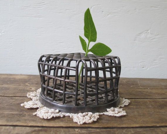 Antique Flower Frog, Cage Style, Rustic Farmhouse Decor