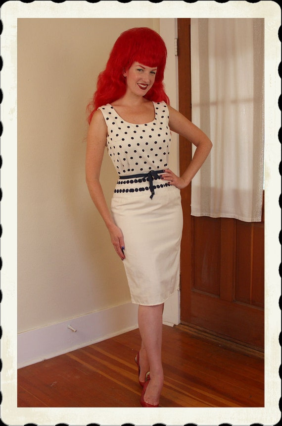 RESERVED 1950's Cream Raw Silk w/ Navy Polka Dots Hourglass Cocktail Dress by Designer Oleg Cassini - Matching Belt - Mad Men - VLV - Size M