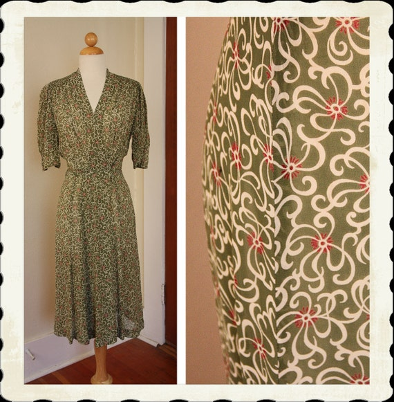GORGEOUS Early 1940's Semi-Sheer Silk Chiffon Bias Cut Day or Cocktail Wrap Dress - Ruched Pleated Stitched Shoulders - Rare Colors - Size M