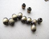 oval brass bead oxidized with big hole