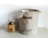 HOME logo in black of Canvas Thicken waterproof cotton linen laundry baskets, Storage baskets, Toy boxes Big size (stamp) for FREE SHIPPING