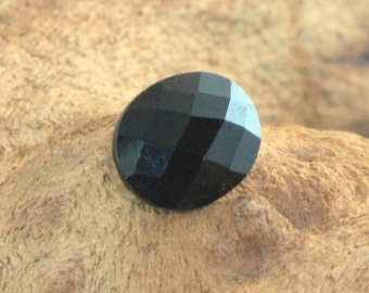 Black Spinel faceted chequer cut oval, untreated natural gemstone 3.42 cts