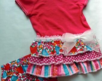 Toddler Girl t-shirt ruffled dress & bloomers