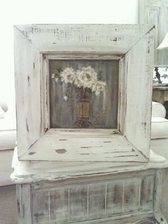 French White Roses Hand Painted...Vintage wood frame, GREY/White/Gold
