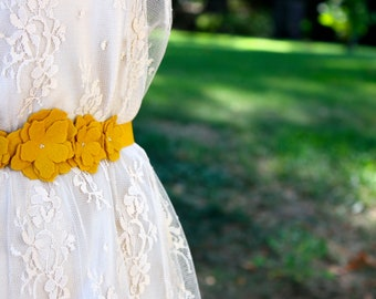 Mustard Yellow Felt Flower Rose Belt