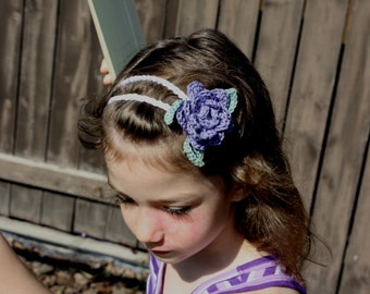 Double Strand Headband with Rose and Leaves pdf PATTERN (digital download), newborn to adult sizes, crochet for girls/women