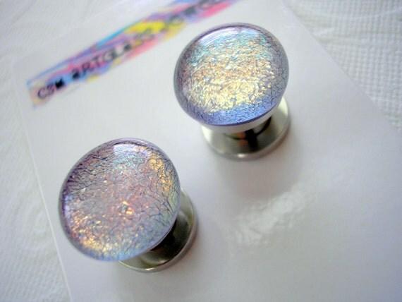SALE - 00g Ear Tunnels - Glass Opals Mauve Purple - Dichroic Glass Cabs - 10mm Ear Plugs