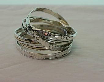 Bangle Bracelets, Solid Silver Bracelet , Handmade Silver Bracelet, Silver Bangles, Silver and Gold Bangles, Stacking Bangles