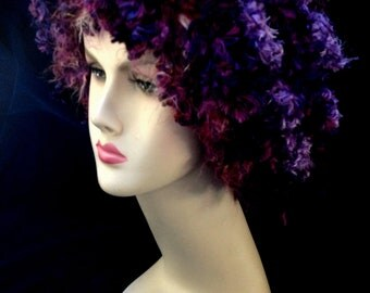 HALLOWEEN SALE Purple and Fuchsia Curly Wig Hat Rave Costume
