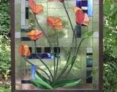 "Six California Poppies Geometric- 50"" x 39"" Stained Glass Window  Panel"