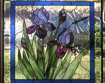 "Purple Iris with Buds-- 28 3/4"" x  28 3/4""--Stained Glass Panel"