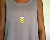 Geometric Three Chevron Neon Yellow & White  Necklace