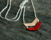 Geometric Three Chevron Red and Natural Necklace