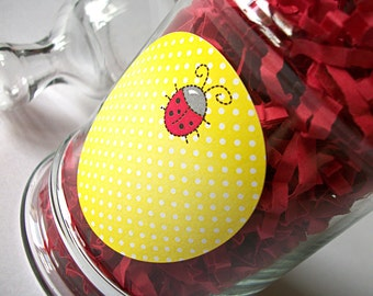 Ladybug Canning jar stickers, 2 inch round yellow stickers for fruit and vegetable preservation, jam and jelly