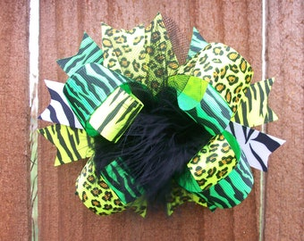 NEON--Hair Bow---Full Size 5.5 Inches Funky Fun Over the Top Bow--Neon Lime and Neon Yellow Animal Prints